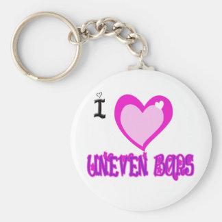 I LOVE Uneven Bars Basic Round Button Keychain