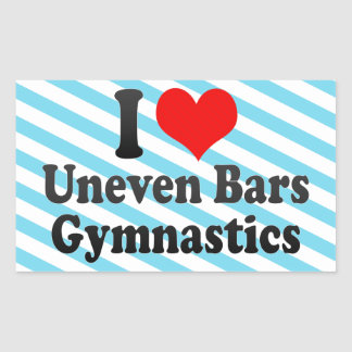 I love Uneven Bars Gymnastics Rectangular Sticker