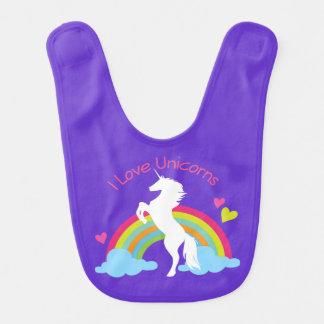 I Love Unicorns Baby Girl Bib