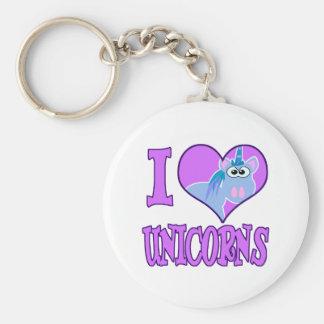 I Love unicorns Basic Round Button Keychain