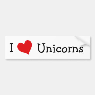 I Love Unicorns Bumper Sticker