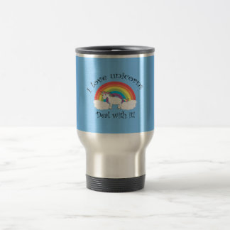 I love unicorns deal with it blue 15 oz stainless steel travel mug