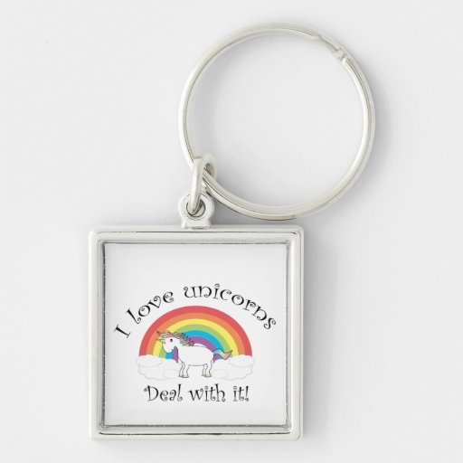 I love unicorns Deal with it! Silver-Colored Square Keychain