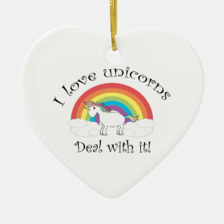 I love unicorns Deal with it! Double-Sided Heart Ceramic Christmas Ornament