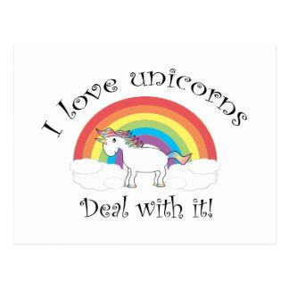 I love unicorns Deal with it! Postcard