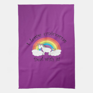 I love unicorns deal with it purple background towels