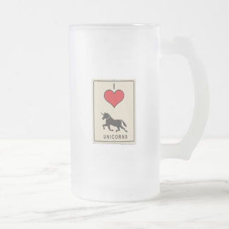 I Love Unicorns Frosted Glass Beer Mug