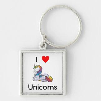 I Love Unicorns (laying) Keychain