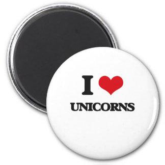 I love Unicorns 2 Inch Round Magnet