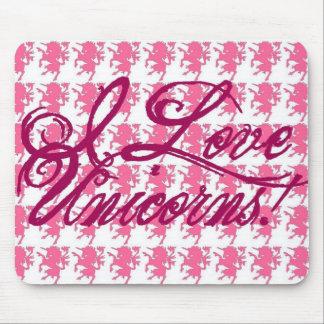I Love Unicorns - pink Mouse Pad