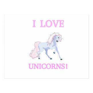 I LOVE UNICORNS POSTCARD