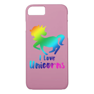 I Love Unicorns Rainbow Design iPhone 8/7 Case