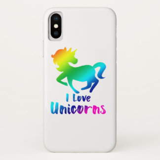 I Love Unicorns Rainbow Design iPhone X Case