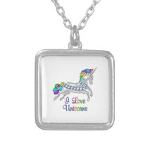 I Love Unicorns Silver Plated Necklace