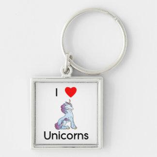 I Love Unicorns (sitting) Keychain