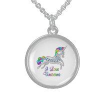 I Love Unicorns Sterling Silver Necklace