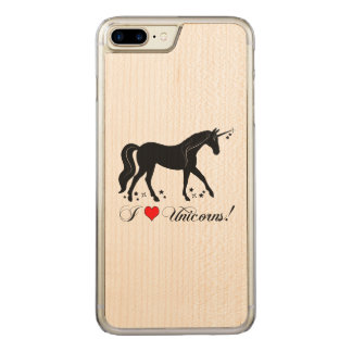 I Love Unicorns with Stars in Silhouette Carved iPhone 8 Plus/7 Plus Case
