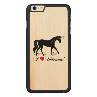 I Love Unicorns with Stars in Silhouette Carved Maple iPhone 6 Plus Case