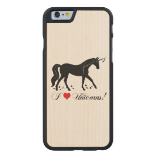 I Love Unicorns with Stars in Silhouette Carved Maple iPhone 6 Slim Case