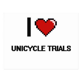 I Love Unicycle Trials Digital Retro Design Postcard