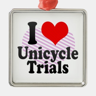 I love Unicycle Trials Christmas Tree Ornament