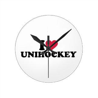 I love Unihockey Round Wallclocks