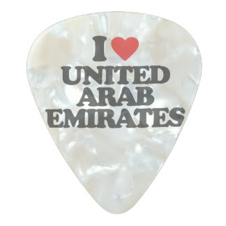 I LOVE UNITED ARAB EMIRATES PEARL CELLULOID GUITAR PICK