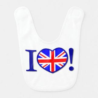 I Love United Kingdom Flag Baby Bib