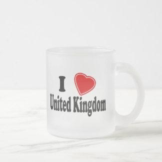 I Love United Kingdom Frosted Glass Coffee Mug