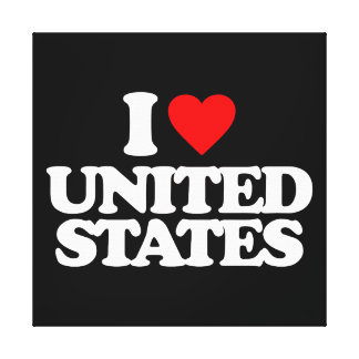 I LOVE UNITED STATES STRETCHED CANVAS PRINTS