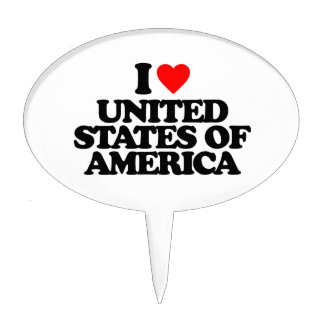I LOVE UNITED STATES OF AMERICA CAKE TOPPERS