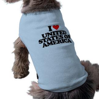 I LOVE UNITED STATES OF AMERICA DOG SHIRT