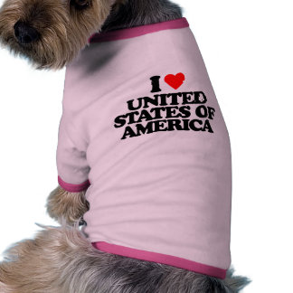 I LOVE UNITED STATES OF AMERICA DOGGIE T-SHIRT