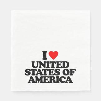 I LOVE UNITED STATES OF AMERICA NAPKIN