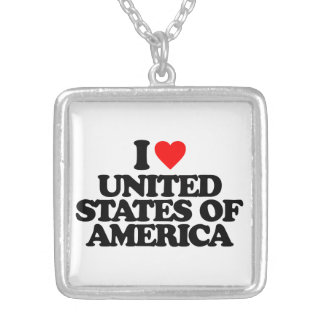 I LOVE UNITED STATES OF AMERICA PERSONALIZED NECKLACE