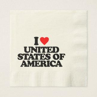 I LOVE UNITED STATES OF AMERICA PAPER NAPKIN