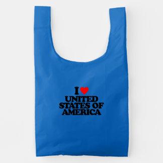 I LOVE UNITED STATES OF AMERICA REUSABLE BAG