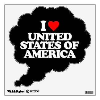 I LOVE UNITED STATES OF AMERICA ROOM STICKER