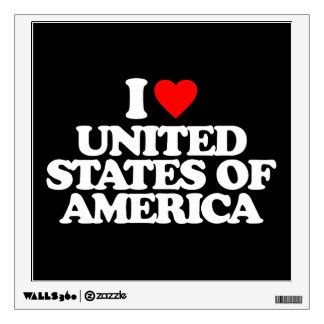 I LOVE UNITED STATES OF AMERICA ROOM DECALS