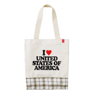 I LOVE UNITED STATES OF AMERICA ZAZZLE HEART TOTE BAG