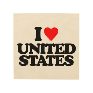 I LOVE UNITED STATES WOOD CANVASES