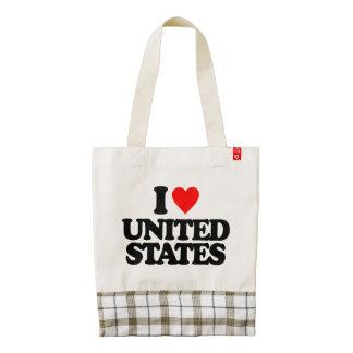 I LOVE UNITED STATES ZAZZLE HEART TOTE BAG