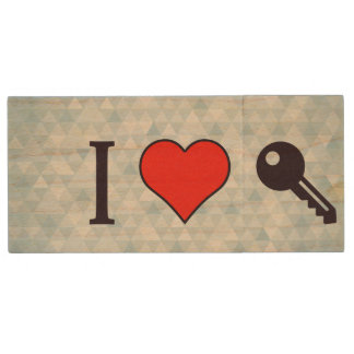 I Love Unlocking My Dreamhouse Wood Flash Drive