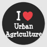 I love Urban Agriculture heart custom personalized Classic Round Sticker