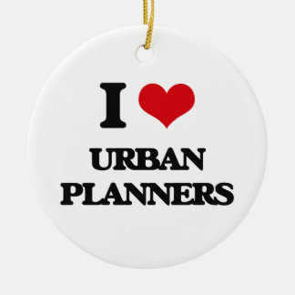 I love Urban Planners Double-Sided Ceramic Round Christmas Ornament