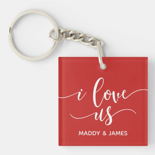 I Love Us Couples Personalized Photo Keychain