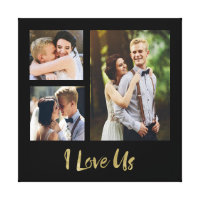 I Love Us Gold Script Wedding Canvas