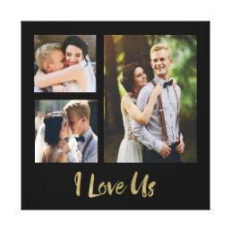 I Love Us Gold Script Wedding Canvas
