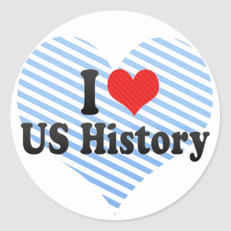 I Love US History Classic Round Sticker