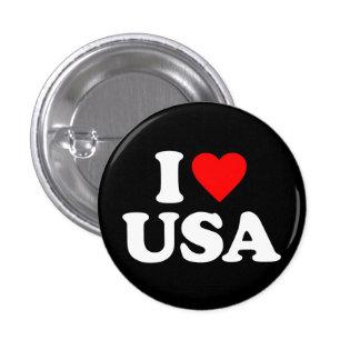 I LOVE USA 1 INCH ROUND BUTTON